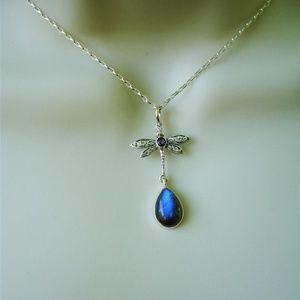 Jewelry - Amethyst labradorite dragonfly sterling necklace